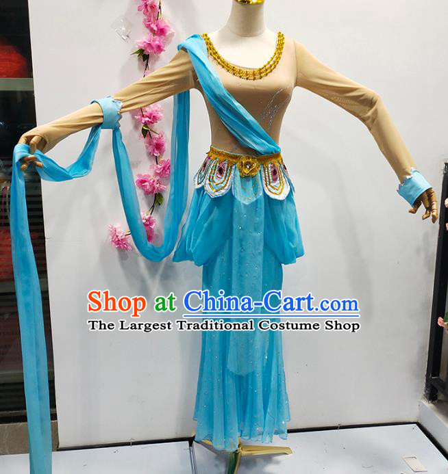 China Flying Apsaras Stage Performance Blue Outfits Classical Dance Clothing Goddess Dance Costume