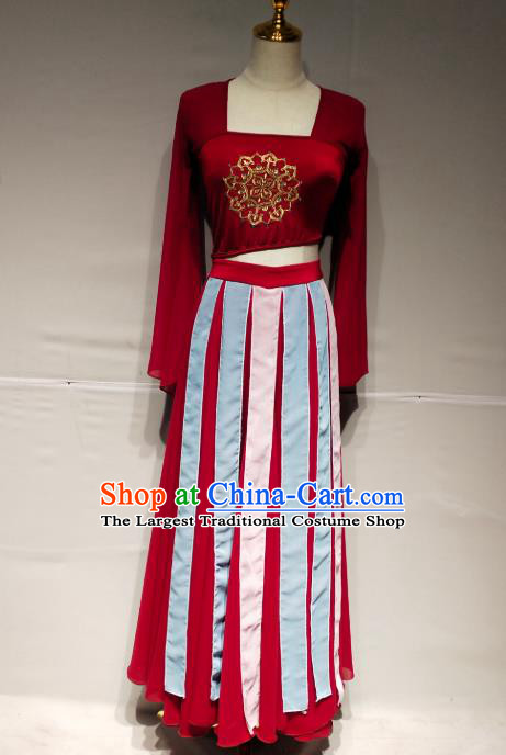 China Tang Dynasty Court Dance Stage Performance Costume Classical Dance Red Dress Clothing