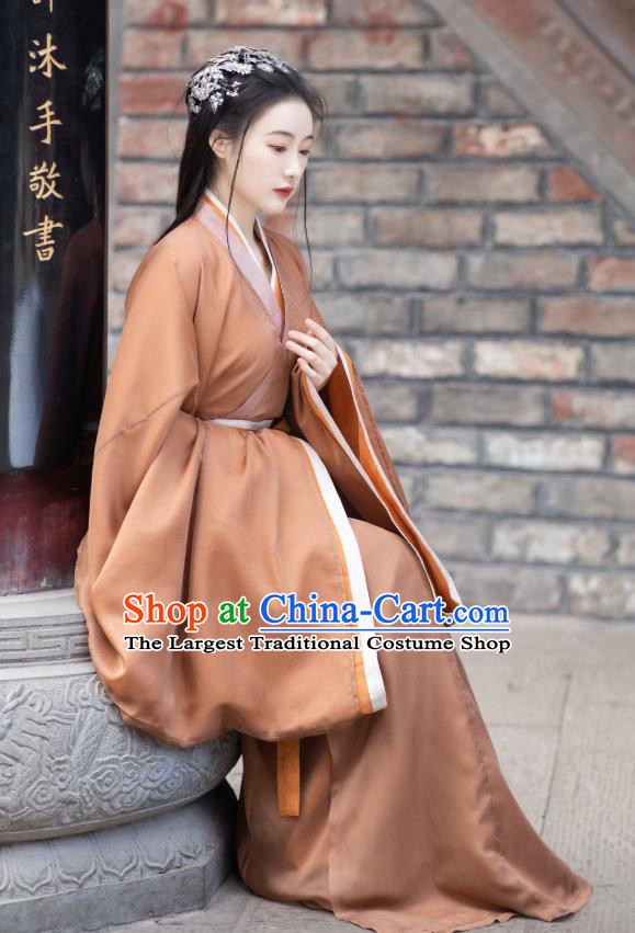 China Ancient Palace Lady Hanfu Dress Traditional Jin Dynasty Young Beauty Historical Clothing