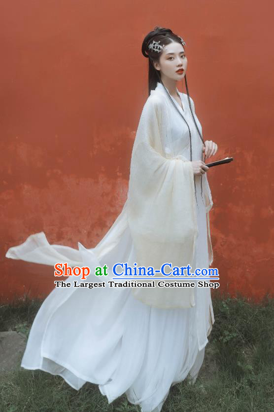 China Ancient Fairy Princess Beige Hanfu Dress Traditional Jin Dynasty Court Lady Historical Costumes Full Set