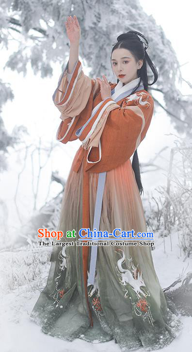 China Traditional Jin Dynasty Court Beauty Historical Clothing Ancient Royal Princess Hanfu Dress Garment for Women