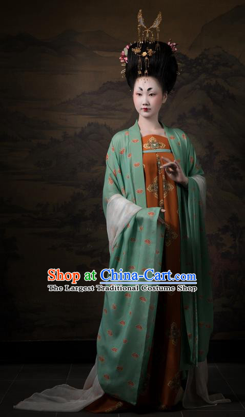 China Ancient Imperial Consort Hanfu Costumes Traditional Tang Dynasty Court Beauty Historical Clothing