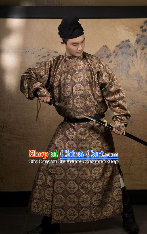 China Ancient Swordsman Hanfu Costume Traditional Tang Dynasty Chivalrous Male Clothing