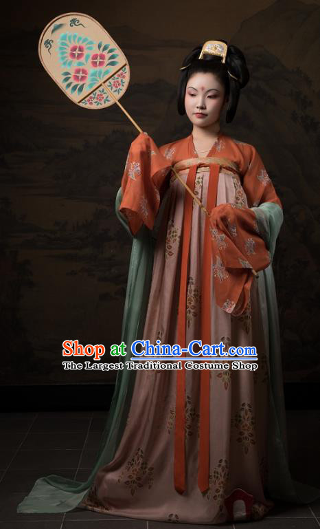 China Ancient Hanfu Garment Traditional Tang Dynasty Palace Lady Historical Costumes