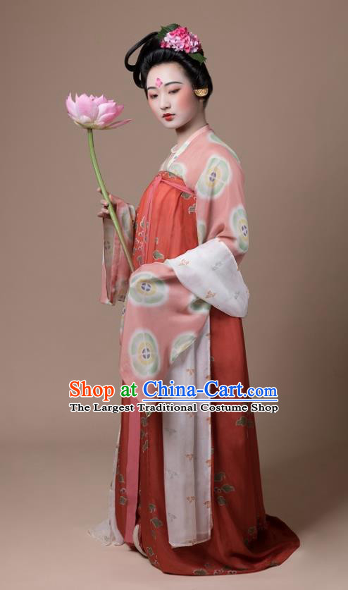 China Traditional Tang Dynasty Palace Lady Replica Costumes Ancient Court Woman Hanfu Dress