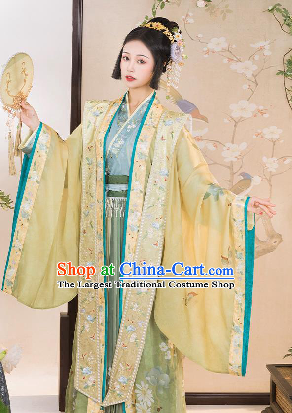 China Ancient Imperial Concubine Embroidered Hanfu Clothing Traditional Song Dynasty Court Woman Replica Costumes