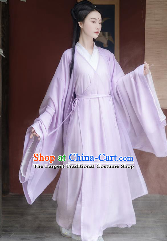 China Ancient Fairy Lilac Chiffon Hanfu Dress Traditional Jin Dynasty Young Beauty Historical Clothing