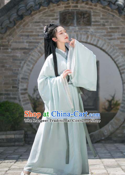 China Ancient Young Beauty Green Hanfu Dress Traditional Jin Dynasty Historical Clothing for Women