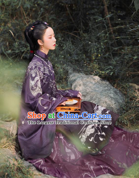 China Ancient Court Woman Hanfu Costumes Traditional Ming Dynasty Imperial Countess Historical Clothing