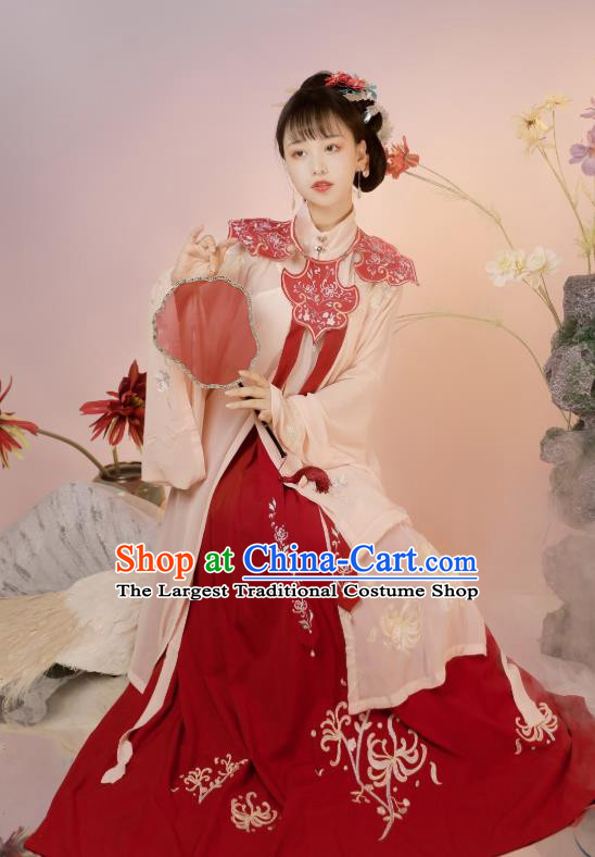China Ancient Patrician Lady Hanfu Dress Clothing Traditional Ming Dynasty Princess Historical Costumes Full Set