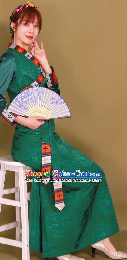 China Zang Nationality Folk Dance Clothing Traditional Xizang Tibetan Minority Heishui Dance Green Bola Dress