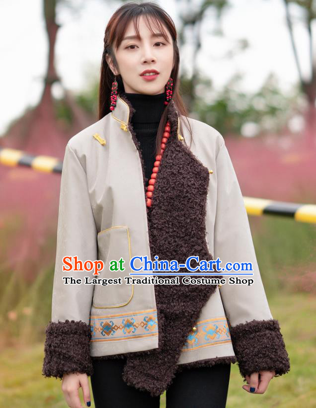 Chinese Traditional Tibetan Ethnic Winter Lamb Wool Outer Garment Clothing Zang Nationality Light Grey Leather Jacket