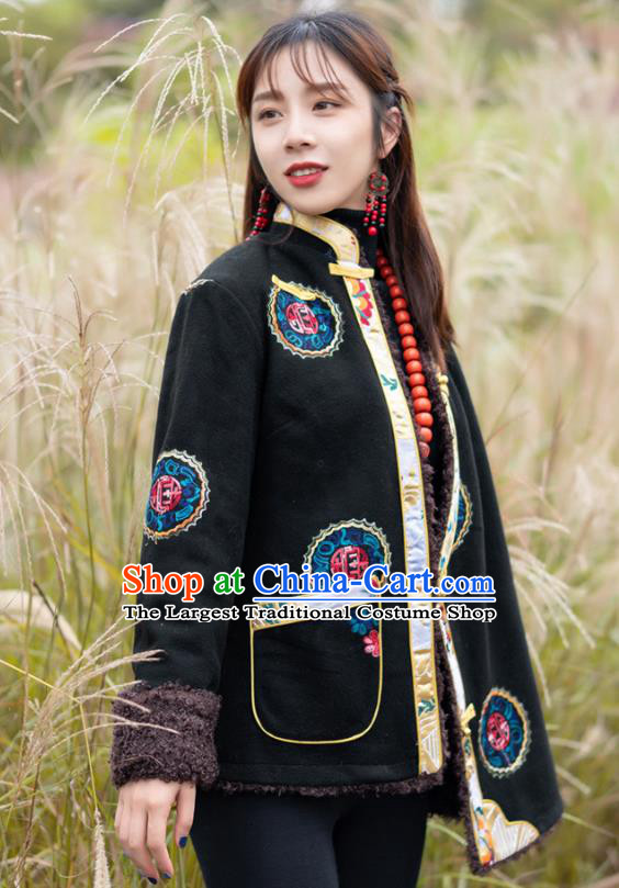 Chinese Traditional Lamb Wool Outer Garment Tibetan Ethnic Embroidered Black Jacket Zang Nationality Winter Clothing