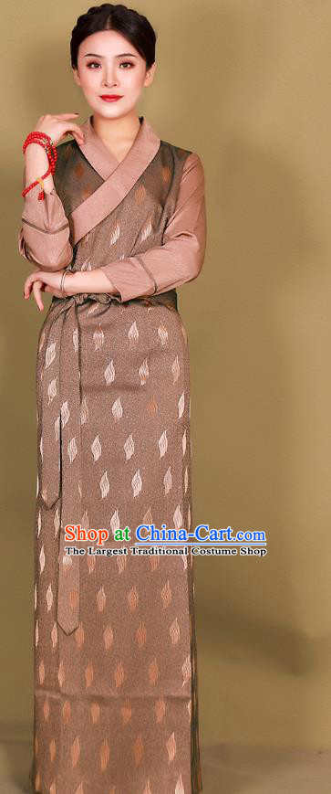 China Zang Minority Costume Xizang Ethnic Woman Clothing Traditional Tibetan Brown Bola Dress