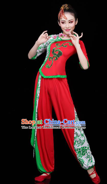 China Drum Dance Yangko Dance Clothing Traditional Folk Dance Fan Dance Red Outfits