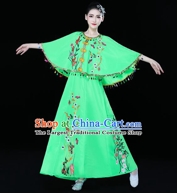 Chinese Traditional Dai Nationality Folk Dance Embroidered Costume Yunnan Ethnic Stage Performance Green Dress