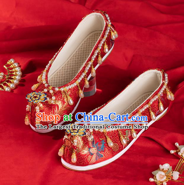 China Ancient Bride Pearls Shoes Traditional Ming Dynasty Princess Shoes Handmade Hanfu Wedding Red Satin Shoes