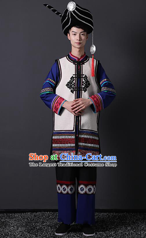 Chinese Liangshan Ethnic Wedding Bridegroom Clothing Traditional Yi Minority Male Stage Performance Outfits