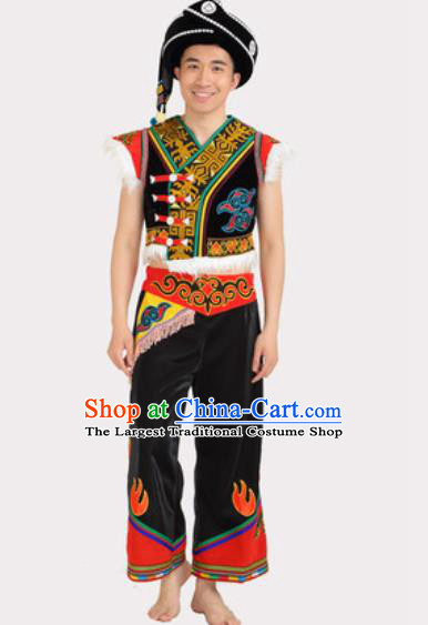 Chinese Traditional Yi Minority Male Stage Performance Black Outfits Liangshan Ethnic Folk Dance Clothing
