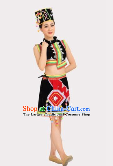 Chinese Yunnan Ethnic Stage Performance Black Dress Outfits Traditional Dai Nationality Folk Dance Costumes