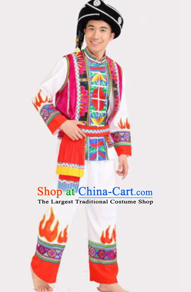 Chinese Traditional Yi Minority Stage Performance Outfits Ethnic Wedding Men Clothing