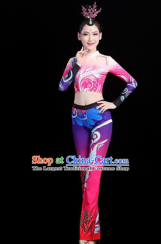 China Group Dance Costume Cheerleading Girl Outfits Aerobics Bodybuilding Competition Clothing