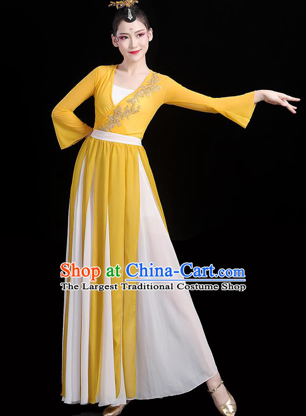 Chinese Classical Dance Yellow Dress Traditional Stage Performance Fan Dance Clothing