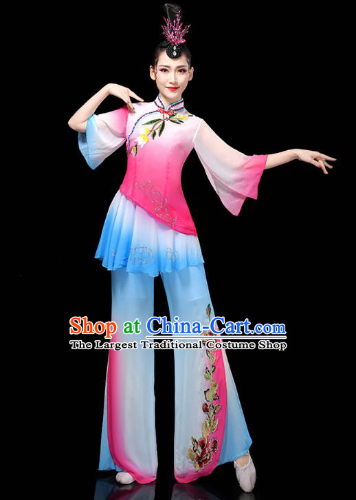 China Traditional Fan Dance Costume Folk Dance Performance Rosy Outfits Yangko Dance Clothing