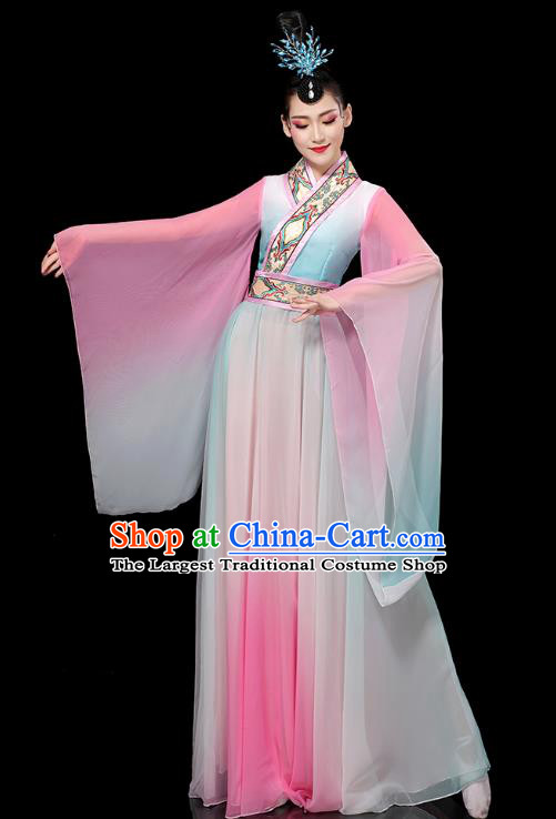 Chinese Umbrella Dance Clothing Classical Dance Wide Sleeve Dress Traditional Stage Performance Uniforms