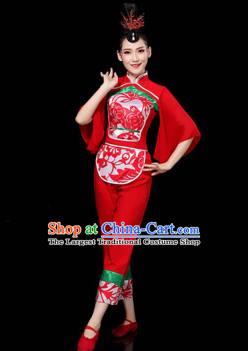 China Folk Dance Drum Dance Red Outfits Traditional Yangko Dance Clothing Fan Dance Costume