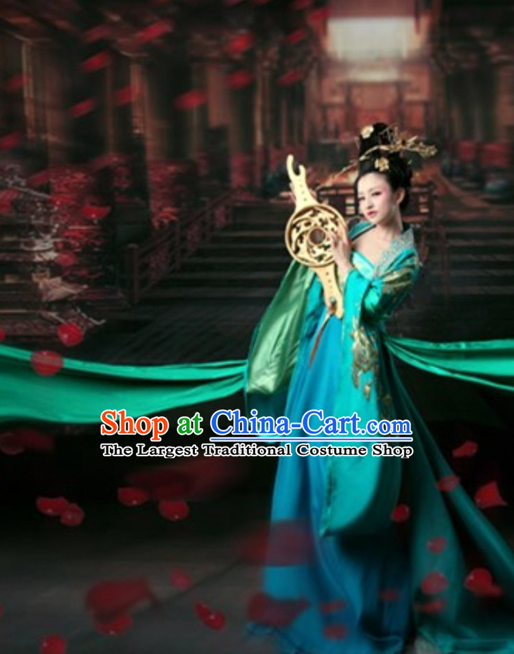 Ancient Chinese Classical Royal Princess Green Clothing Garment Complete Set