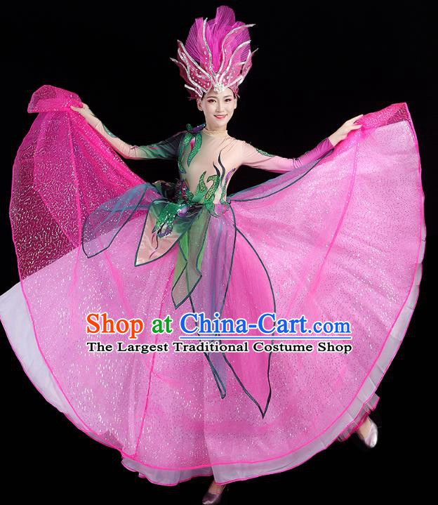 China Flowers Dance Modern Dance Clothing Spring Festival Gala Opening Dance Rosy Dress