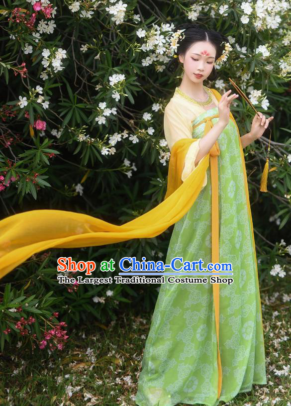 China Ancient Village Girl Green Hanfu Dress Tang Dynasty Young Lady Historical Costume Complete Set