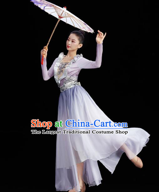 China Umbrella Dance Clothing Classical Dance Lilac Dress Traditional Stage Performance Costume