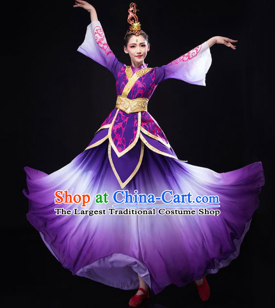 China Traditional Solo Dance Costume Umbrella Dance Clothing Classical Dance Purple Dress