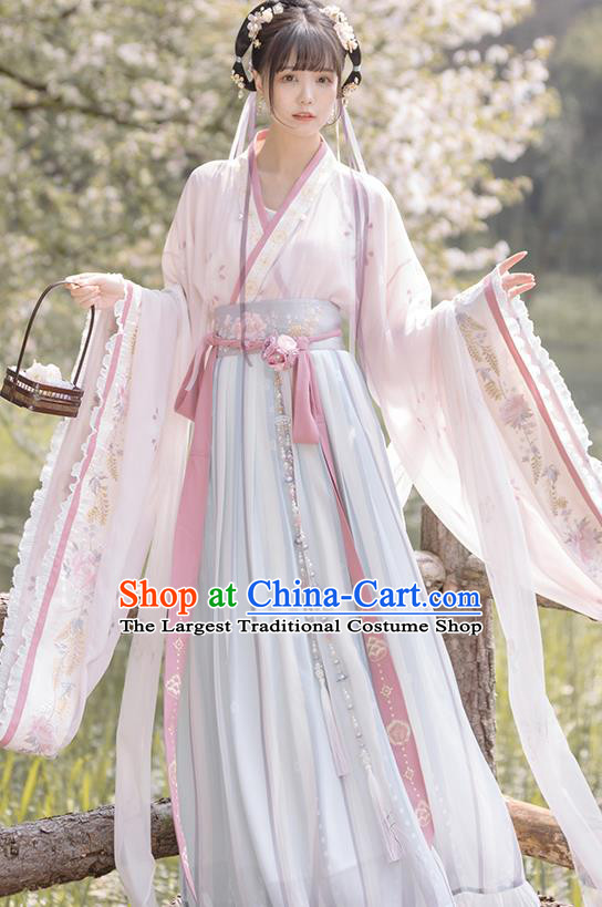 China Ancient Flowers Fairy Hanfu Dress Traditional Jin Dynasty Court Lady Historical Costume Complete Set