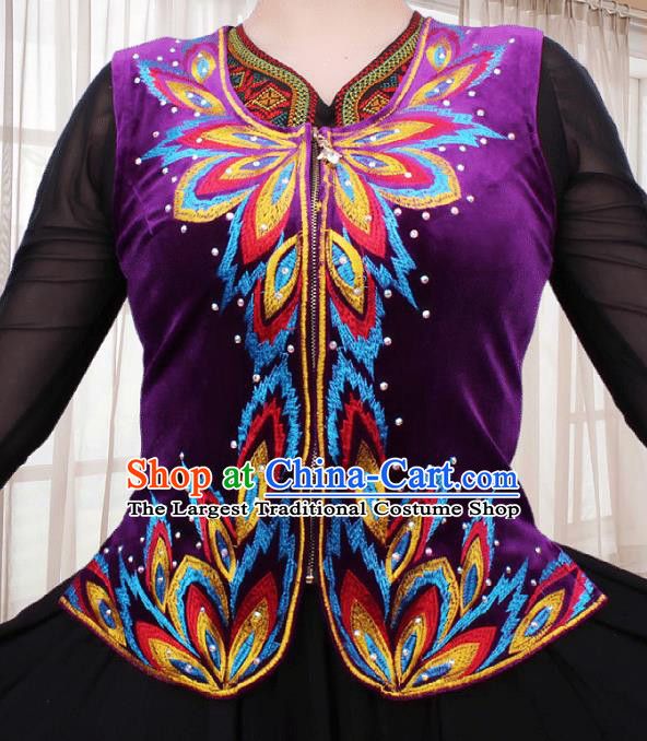 China Xinjiang Ethnic Woman Purple Velvet Vest Traditional Uygur Nationality Folk Dance Waistcoat Clothing