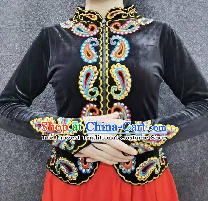 China Traditional Uygur Nationality Dance Shirt Ethnic Woman Clothing Xinjiang Performance Black Velvet Blouse