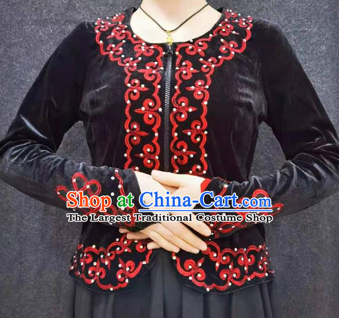 China Ethnic Woman Clothing Xinjiang Performance Black Velvet Blouse Traditional Uygur Nationality Dance Shirt