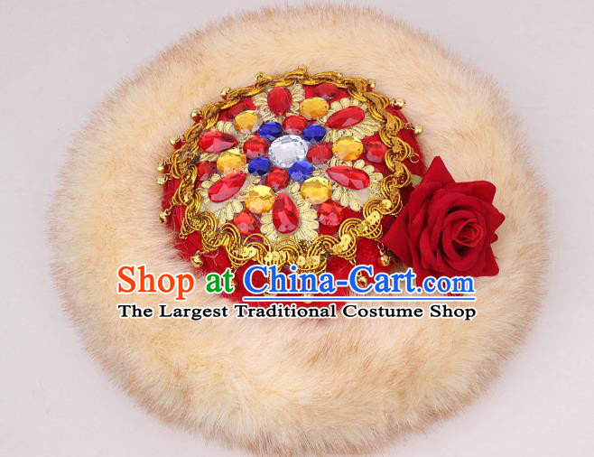 Chinese Xinjiang Ethnic Woman Winter Headwear Traditional Uygur Nationality Stage Performance Hat