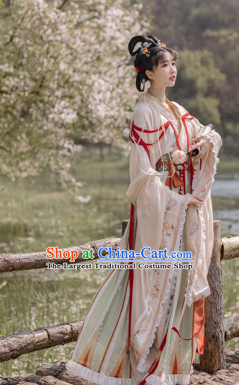 China Traditional Jin Dynasty Royal Princess Historical Clothing Ancient Flower Goddess Hanfu Dress Apparels