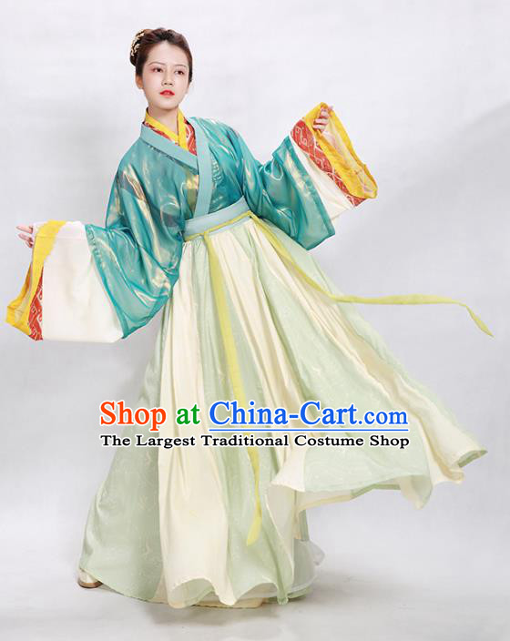 China Traditional Jin Dynasty Court Beauty Historical Clothing Ancient Palace Princess Hanfu Dress Garments