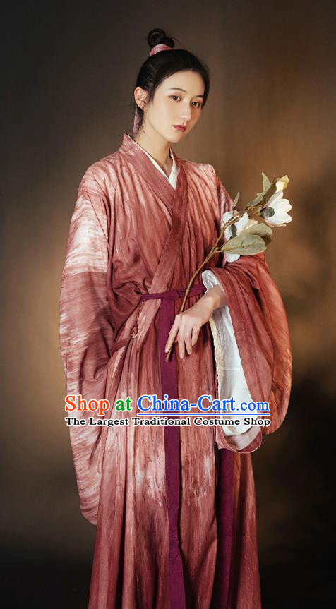 China Ancient Young Beauty Hanfu Dress Garment Traditional Wei Jin Dynasty Swordswoman Historical Clothing