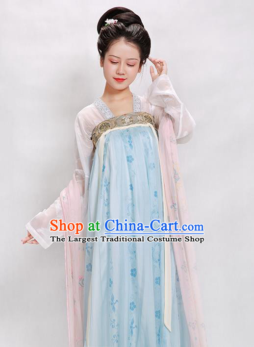 China Traditional Tang Dynasty Palace Lady Historical Clothing Ancient Court Beauty Blue Hanfu Dress