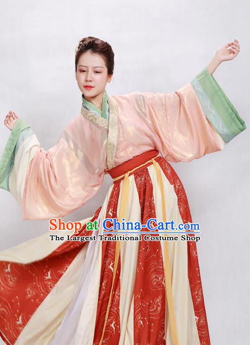 China Ancient Palace Princess Hanfu Dress Apparels Traditional Jin Dynasty Court Beauty Historical Clothing