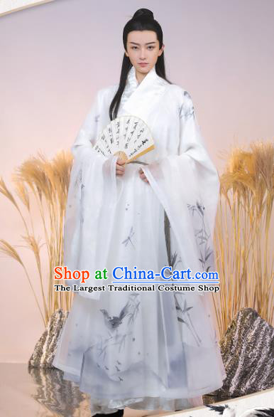 China Ancient Childe Hanfu Robe Clothing Traditional Ming Dynasty Swordsman Historical Costume