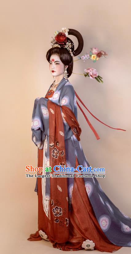 China Ancient Court Woman Hanfu Dress Costumes Traditional Tang Dynasty Imperial Concubine Historical Clothing