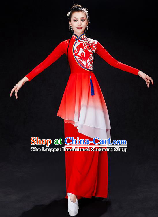 China Yangko Dance Red Uniforms Fan Dance Stage Performance Clothing Folk Dance Drum Dance Costume