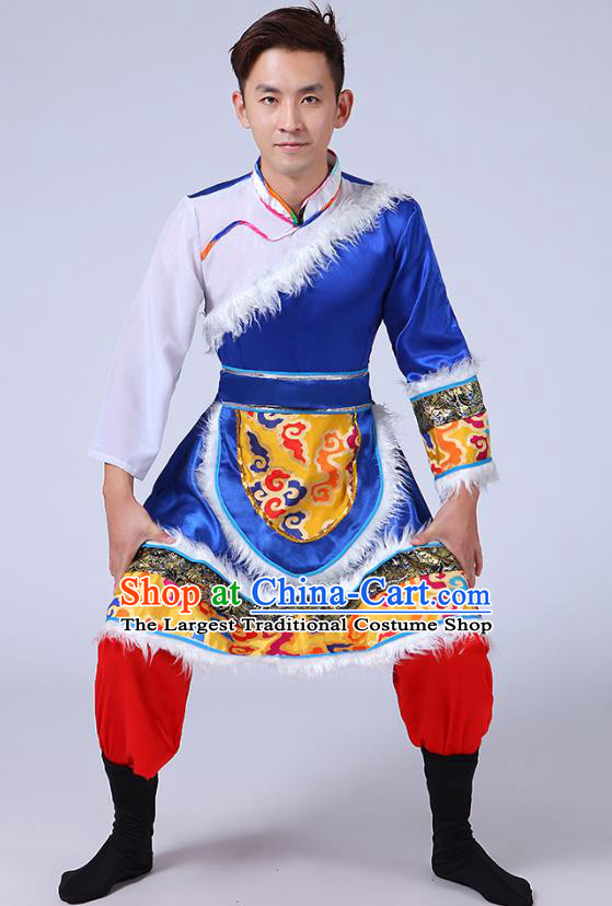 Chinese Traditional Zang Nationality Folk Dance Royalblue Outfits Tibetan Ethnic Minority Stage Performance Costume