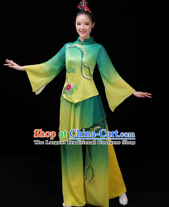 China Group Dance Lotus Dance Clothing Folk Dance Fan Dance Costume Yangko Dance Green Uniforms
